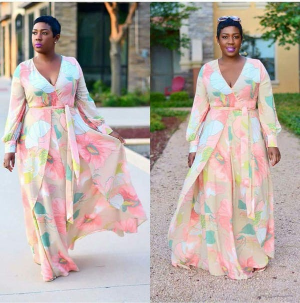 Other Plus Size Taupe Coral Chiffon Floral Wrap Dolman Wing Skirt Maxi Dress photo four