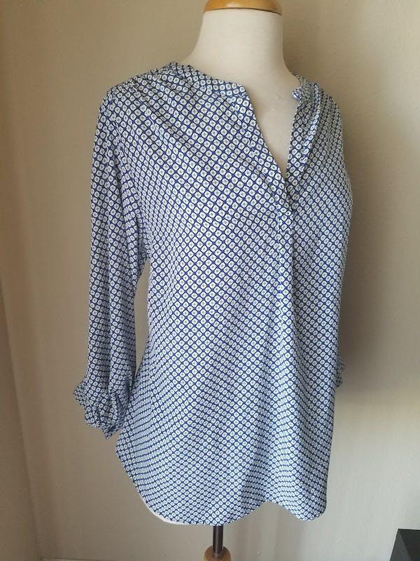 Other Dalia Collection Blue Geometric Print 3/4 Sleeve Split Neck Blouse Top 1X photo four
