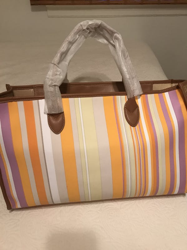 Other Carlisle (New York) multicolor striped tote bag (brand new with wrapping) photo four