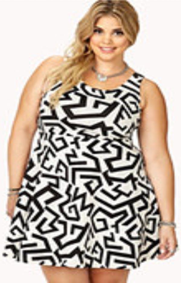 Forever 21+ Geometric Print Black/White Dress photo four