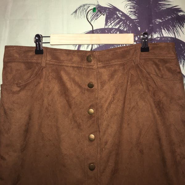 Forever 21+ Forever 21+ Suede  Button Down Mini Skirt photo three
