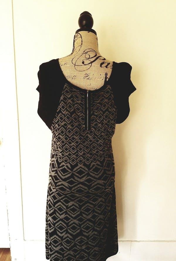 Other Taylor Gray Black Geometric Print Colorblock Sweater Dress A-Line Plus Size 1X photo three