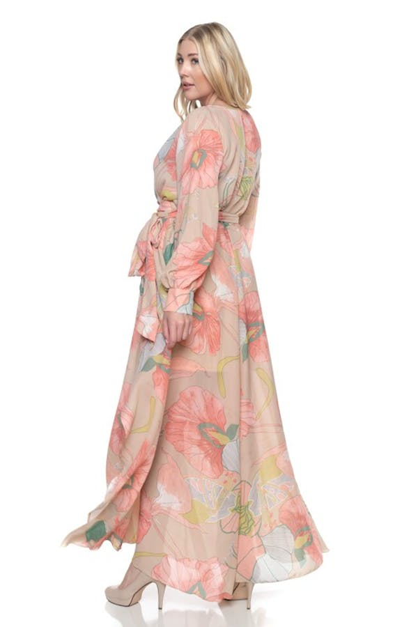 Other Plus Size Taupe Coral Chiffon Floral Wrap Dolman Wing Skirt Maxi Dress photo three