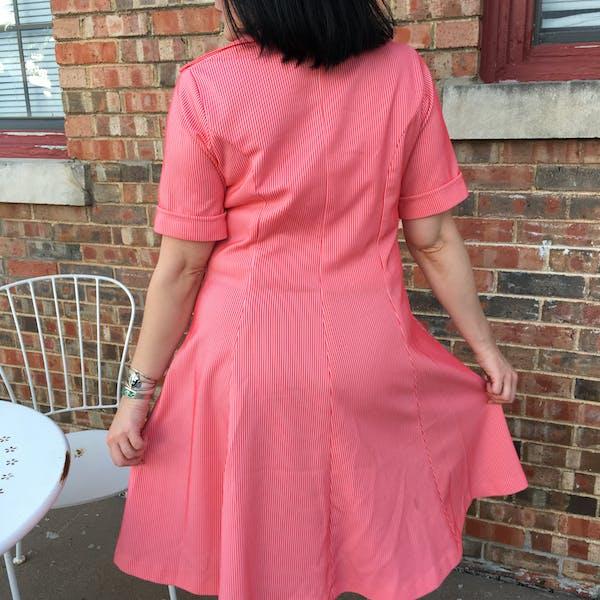 Vintage Retro Red & White Striped Dress photo three