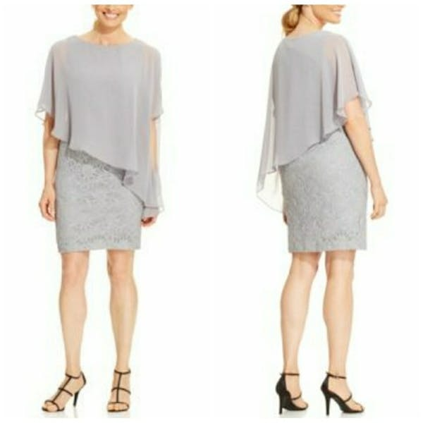 Other Jessica Howard Glitter Lace Cape Dress NWT photo three