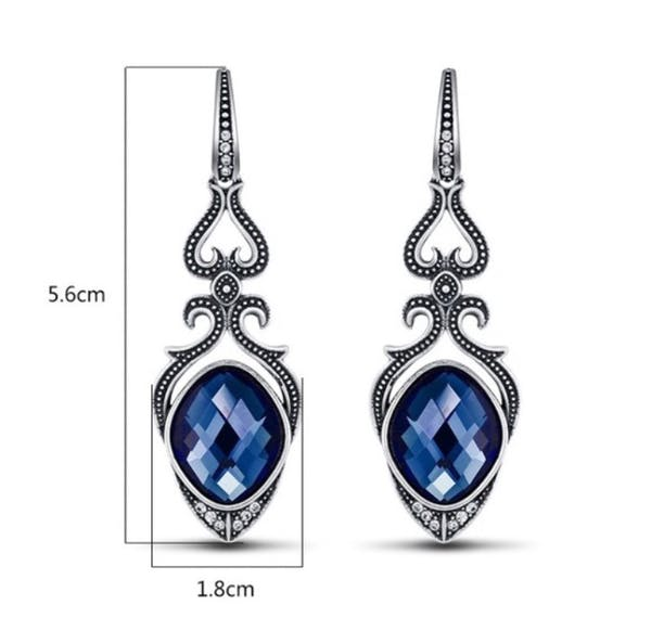 Other STUNNER SAPPHIRE BLUE DROP EARRINGS photo three