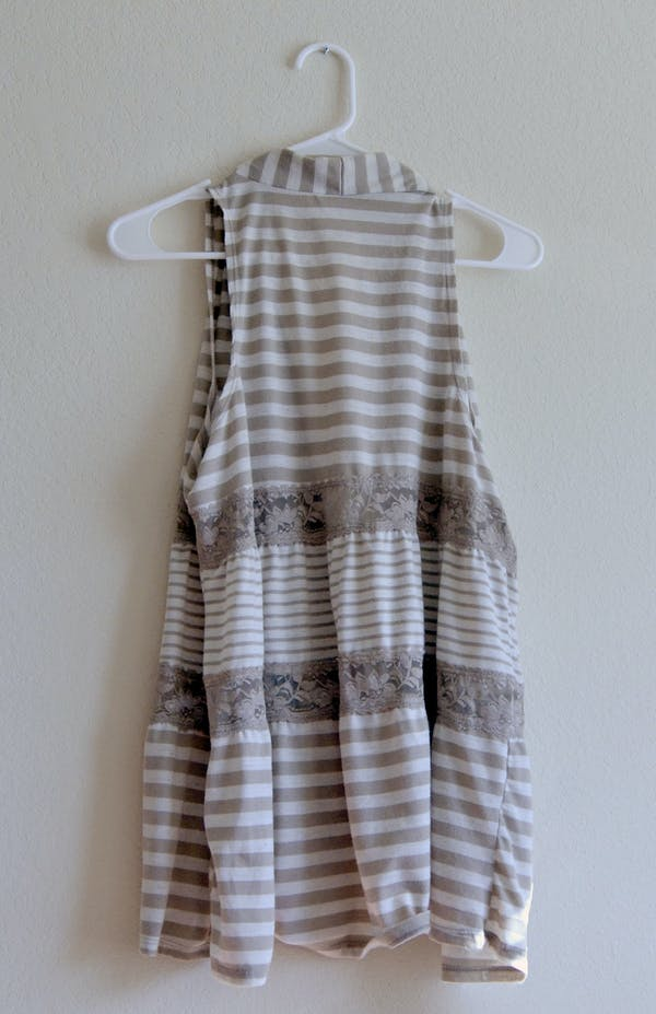Other Tan & White Striped Vest with Lace Detail photo three