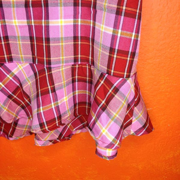 Other Pink Plaid 90s ruffled skirt size 20 photo three