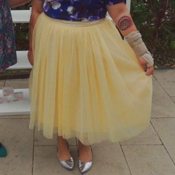 Eloquii Pale yellow tulle midi skirt photo three