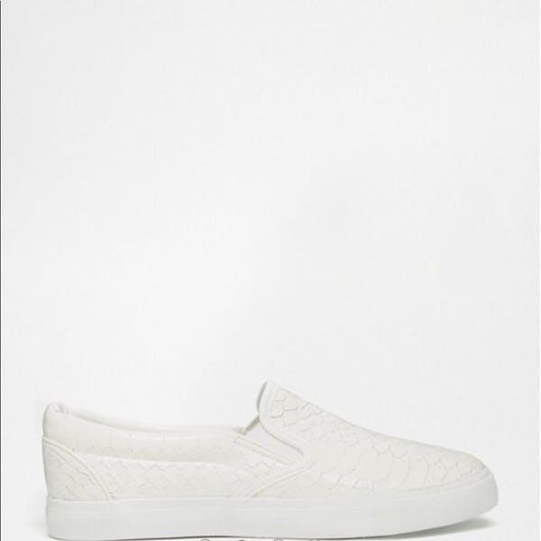 ASOS White Snake Skin Pattern Slip - On Sneakers photo three