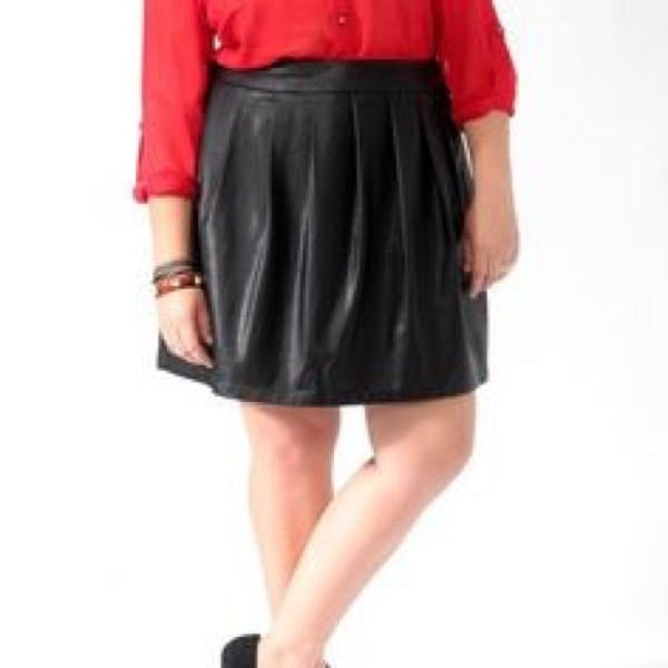 Forever 21+ Faux Leather Skater Skirt photo three
