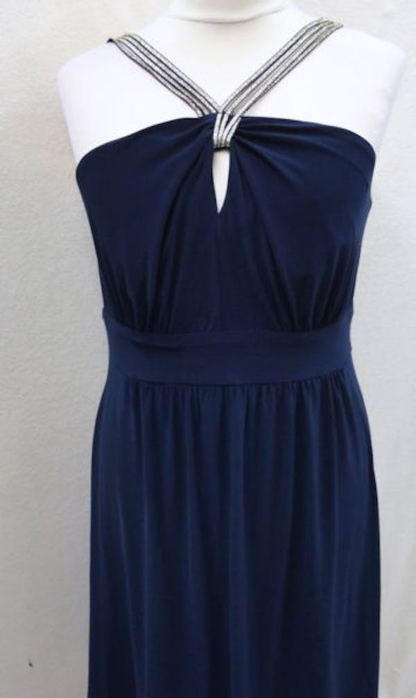 Other New Bisou Bisou Michele Bohbot 18WPlus Blue Keyhole Strappy Sleeveless Dress photo three