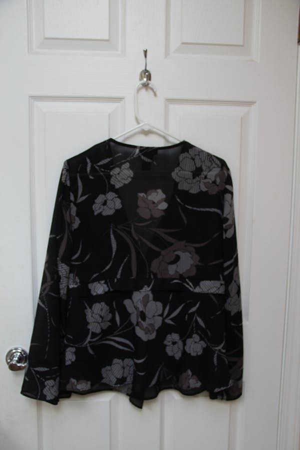 Lane Bryant Floral Black Wrap Top photo three