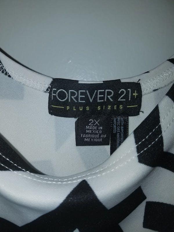 Forever 21+ Geometric Print Black/White Dress photo three
