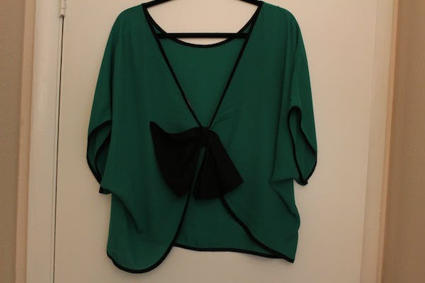 Fashion to Figure Green Open Back Top with Bow Detail photo three