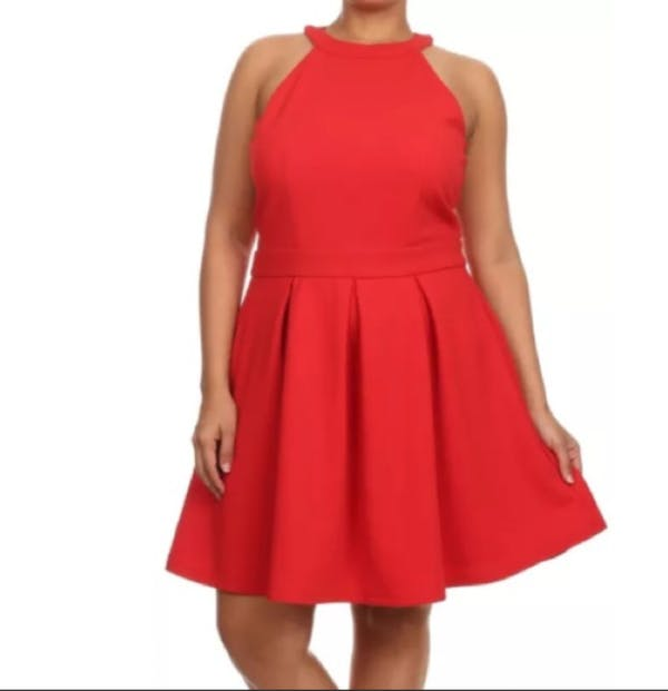 Other Sleveless Red Circle Skater Dress photo two