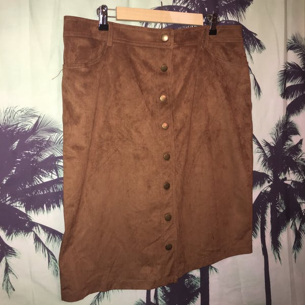 Forever 21+ Forever 21+ Suede  Button Down Mini Skirt photo two