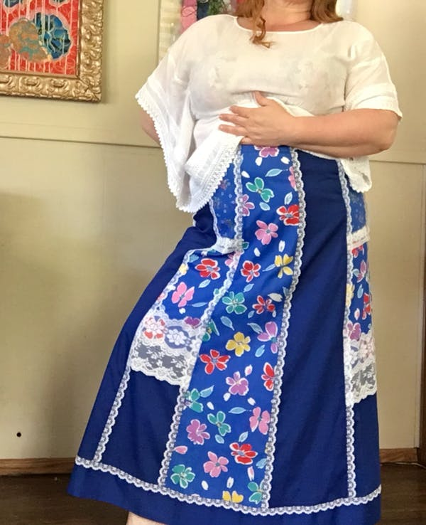 Vintage Blue quilted prairie skirt w/ lace photo two