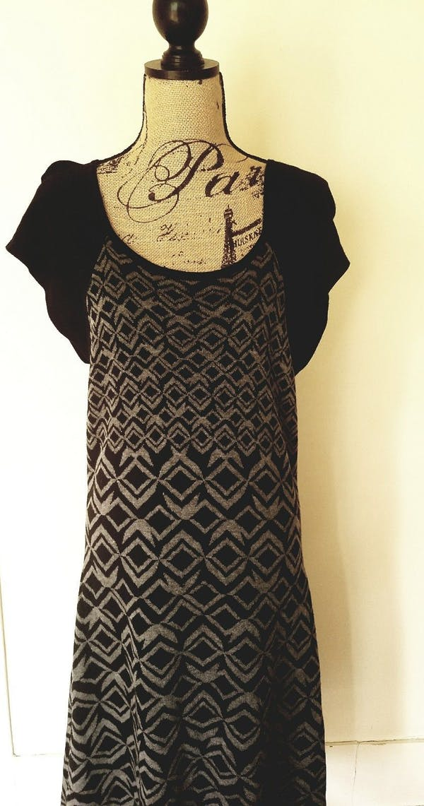 Other Taylor Gray Black Geometric Print Colorblock Sweater Dress A-Line Plus Size 1X photo two