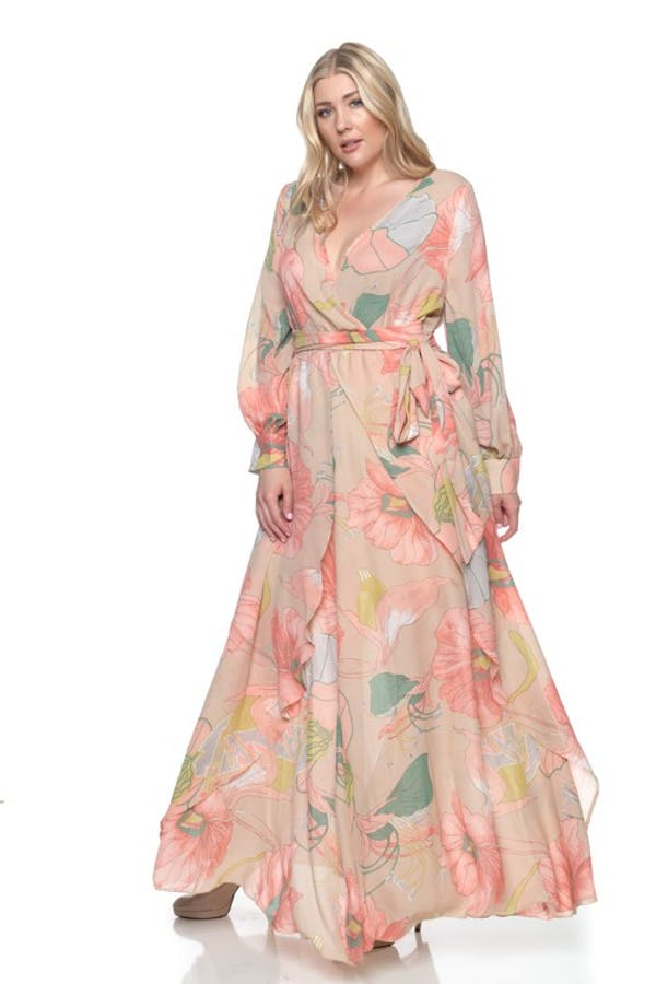Other Plus Size Taupe Coral Chiffon Floral Wrap Dolman Wing Skirt Maxi Dress photo two