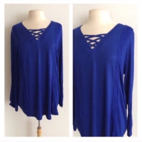 Other Blue lace up tunic photo two