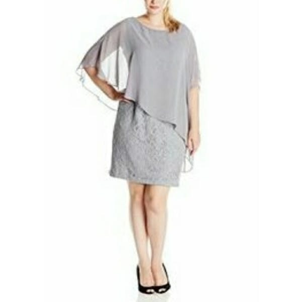 Other Jessica Howard Glitter Lace Cape Dress NWT photo two