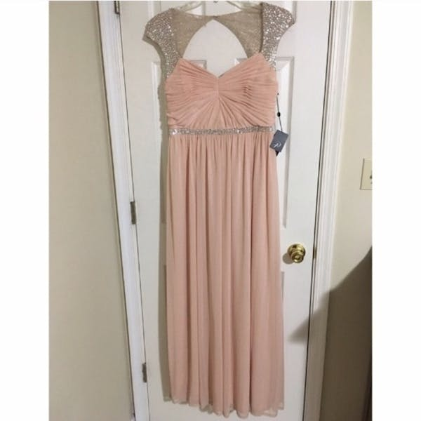 Adrianna Papell NWT Blush Sequin Beaded Gown photo two