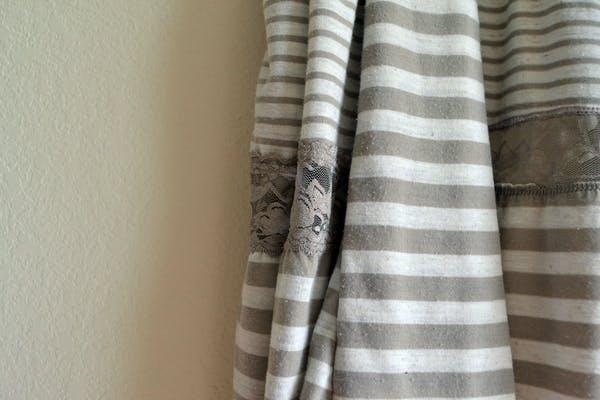 Other Tan & White Striped Vest with Lace Detail photo two