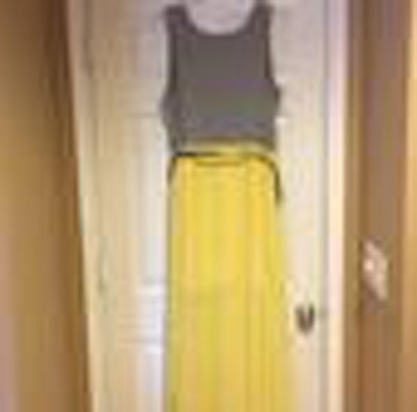 Eloquii Eloquii Grey And Yellow Chiffon Pleated Maxi Dress photo two