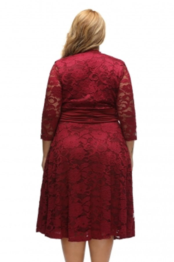 Other Red Plus Surplice Neck Ruched Waist Floral Lace Swing Dress photo two
