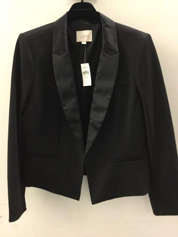 LOFT NWT ANN TAYLOR LOFT Black Sleek Satin Trim Notch Lapel Tuxedo Jacket Blazer $108 photo two