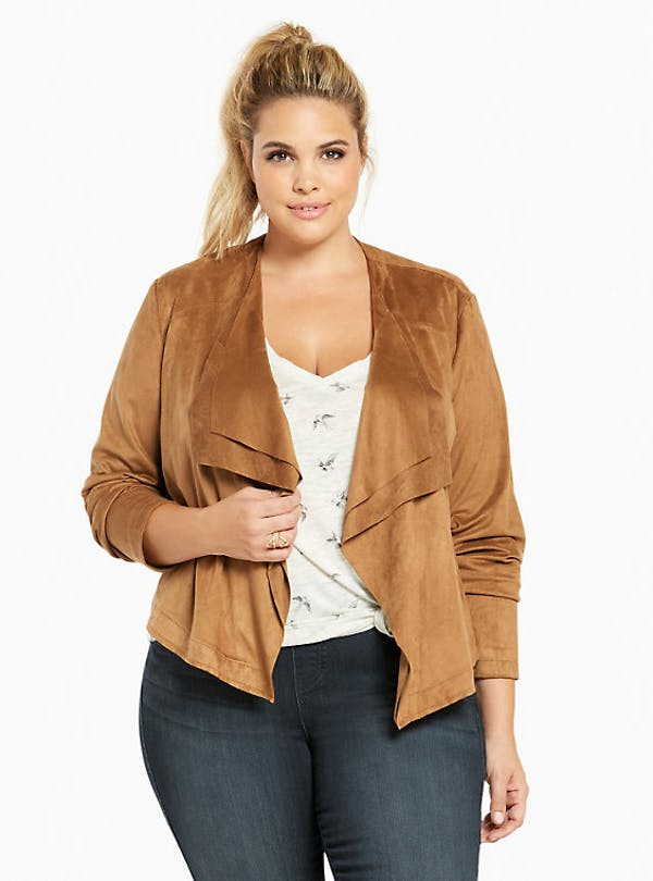 Torrid Faux Suede Layered Drape Front Jacket photo two