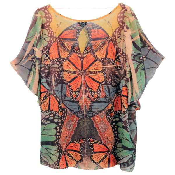 Other Live & Let Live 3X Plus Rust Green Butterfly Sublimation Peasant Tunic Top Shirt photo two