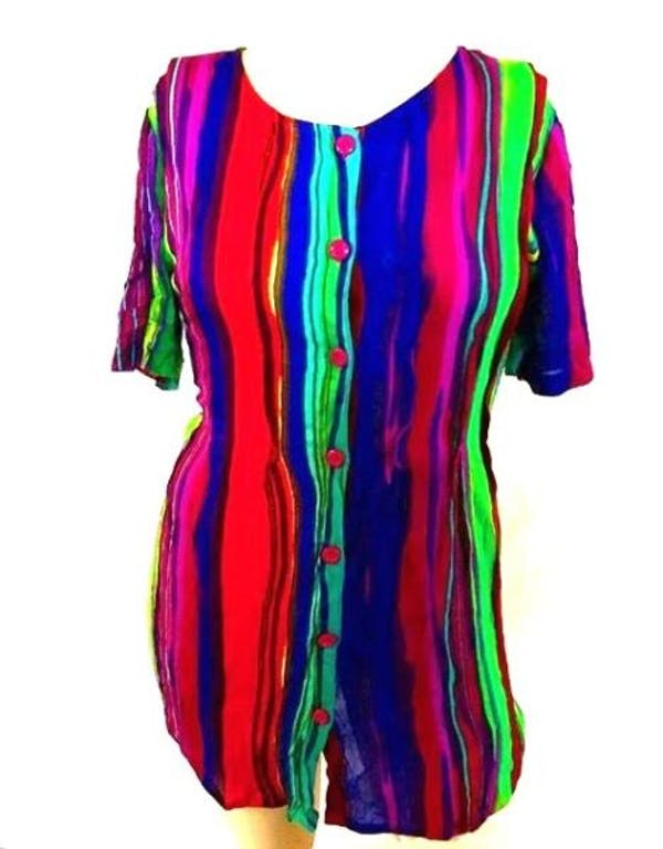 Other Colorful Button Down Tunic Top : M 14W 16W photo two