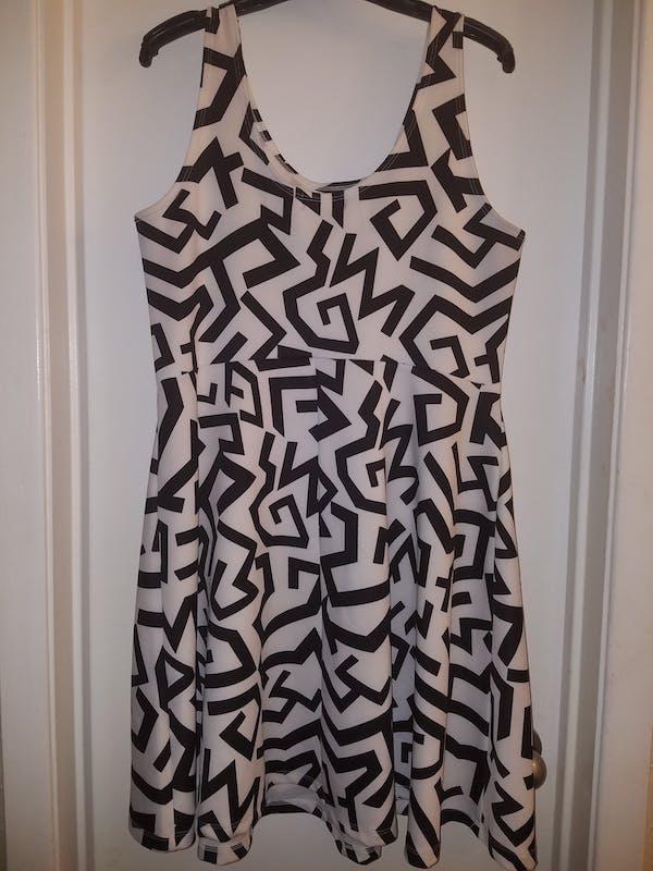 Forever 21+ Geometric Print Black/White Dress photo two