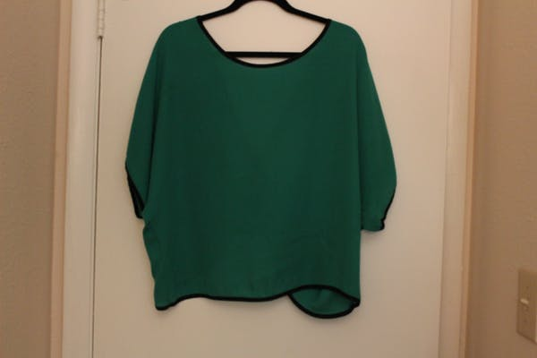 Fashion to Figure Green Open Back Top with Bow Detail photo two