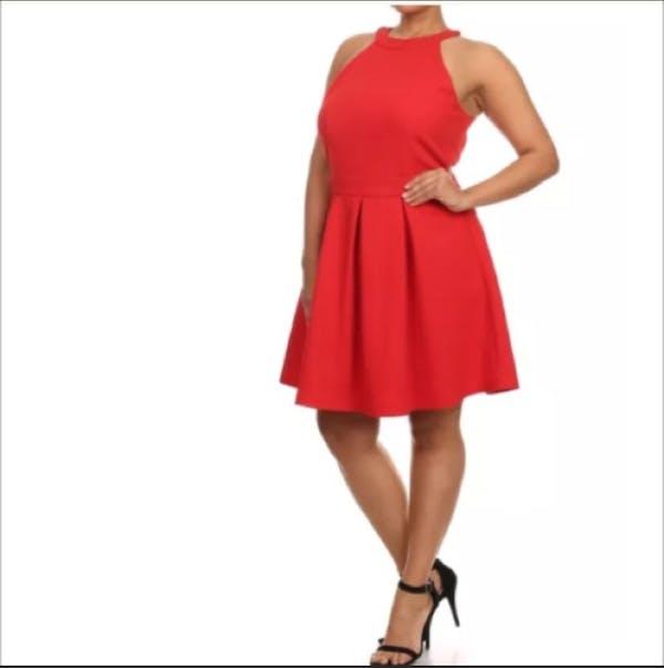 Other Sleveless Red Circle Skater Dress