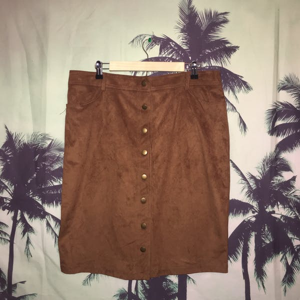 Forever 21+ Forever 21+ Suede  Button Down Mini Skirt