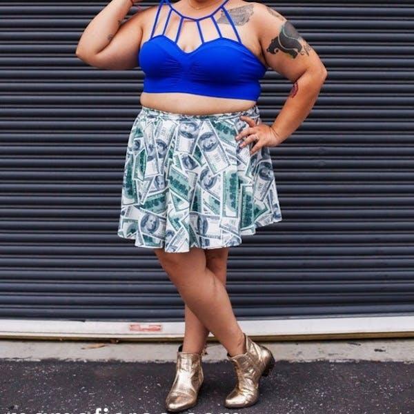 Other Money print skater skirt