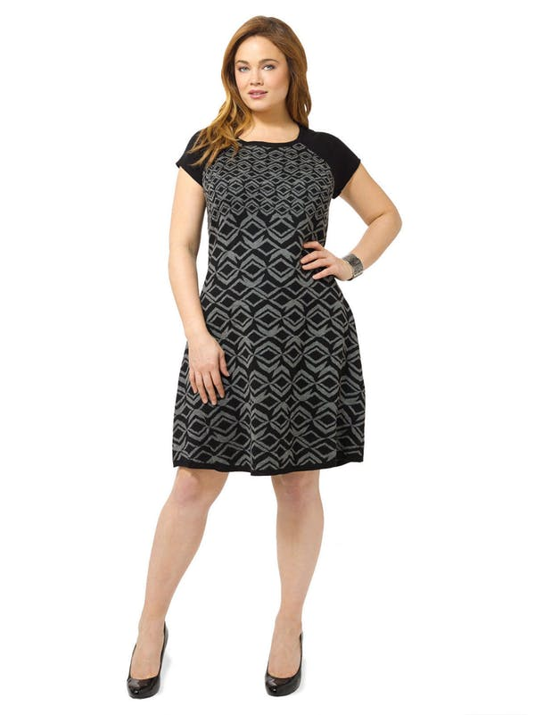 Other Taylor Gray Black Geometric Print Colorblock Sweater Dress A-Line Plus Size 1X