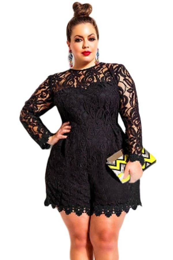 Other Black Plus Size Long Sleeve Lace Romper