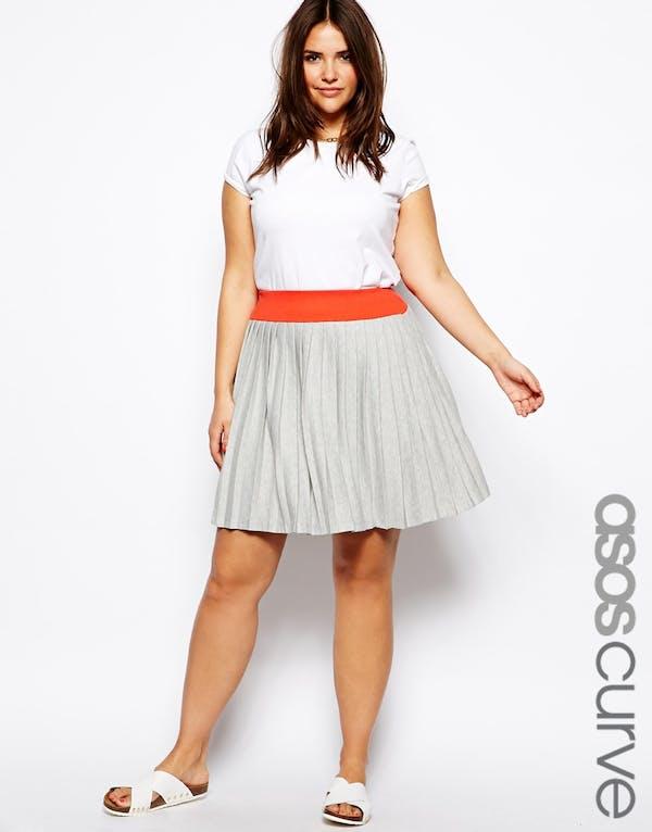 ASOS ASOS Curve Gray Pleated Skirt