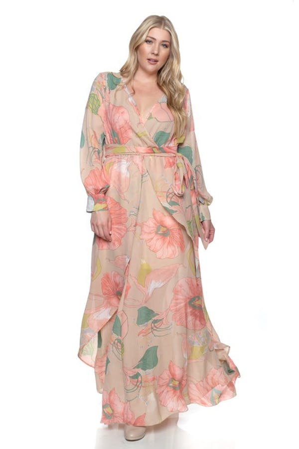 Other Plus Size Taupe Coral Chiffon Floral Wrap Dolman Wing Skirt Maxi Dress