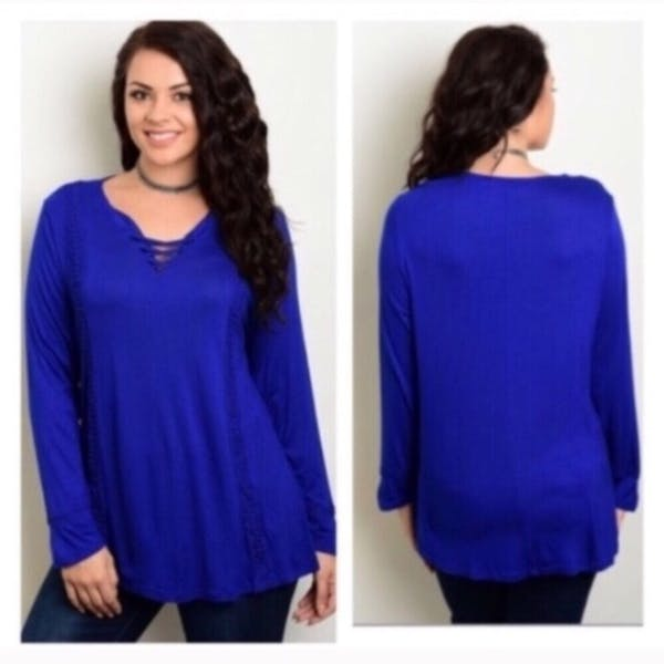 Other Blue lace up tunic