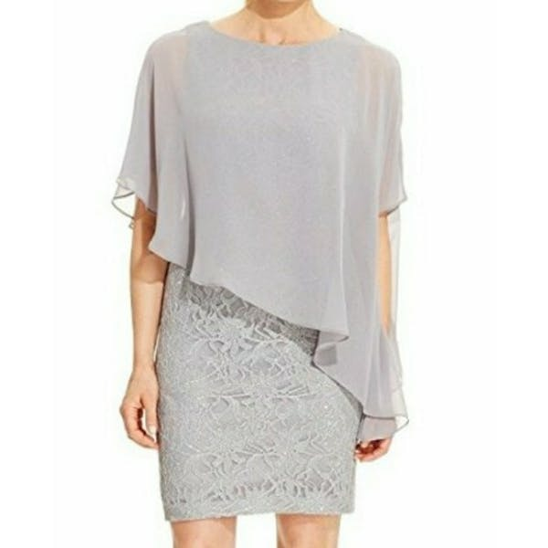 Other Jessica Howard Glitter Lace Cape Dress NWT