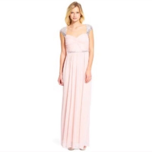 Adrianna Papell NWT Blush Sequin Beaded Gown