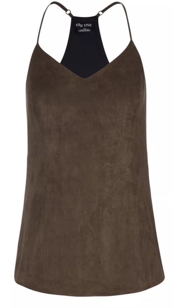 City Chic City Chic Sueded Brown Boho Tank