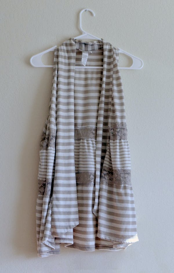 Other Tan & White Striped Vest with Lace Detail