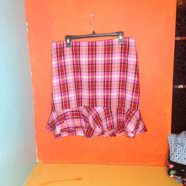 Other Pink Plaid 90s ruffled skirt size 20