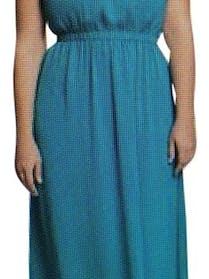 Eloquii Eloquii Teal One Shoulder Maxi Dress